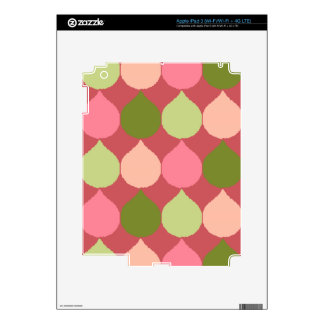 Pink Green Geometric Ikat Teardrop Circles Pattern iPad 3 Skins