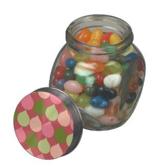 Pink Green Geometric Ikat Teardrop Circles Pattern Jelly Belly Candy Jar