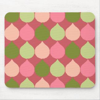 Pink Green Geometric Ikat Teardrop Circles Pattern Mousepads