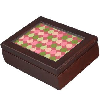 Pink Green Geometric Ikat Teardrop Circles Pattern Keepsake Boxes