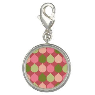 Pink Green Geometric Ikat Teardrop Circles Pattern Charm