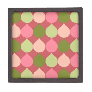 Pink Green Geometric Ikat Teardrop Circles Pattern Premium Jewelry Boxes