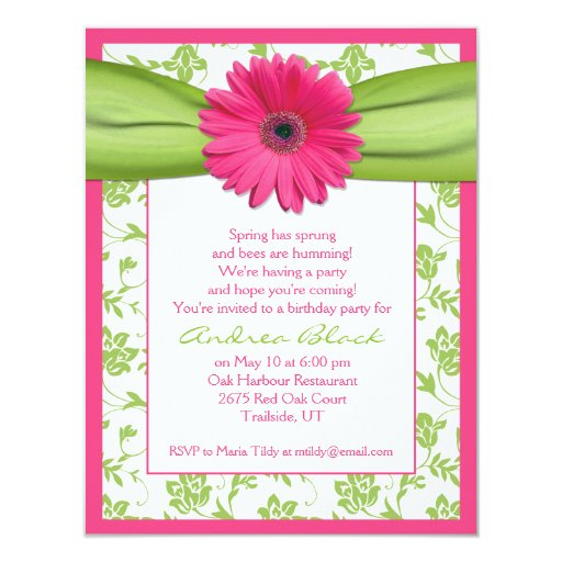 "Pink Green Gerbera Daisy Birthday Invitation 4.25"" X 5.5"" Invitation Card"
