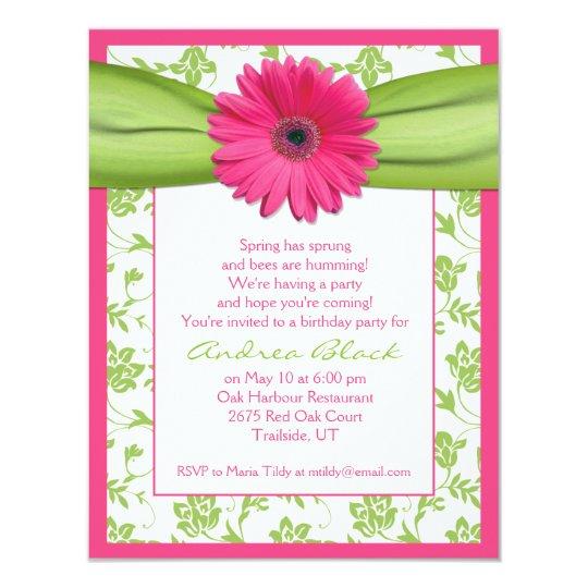 Pink Green Gerbera Daisy Birthday Invitation
