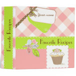 Pink/Green Gingham Personalized Recipe Book 3 Ring Binder