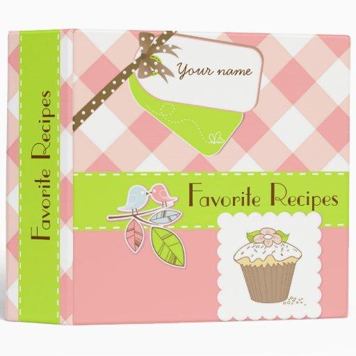 pink  green gingham personalized recipe book 3 ring binder
