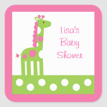 Pink Green Giraffe Envelope Seals Stickers