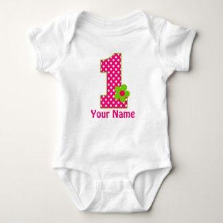 Pink Green Girls Personalized 1st BIrthday Shirt