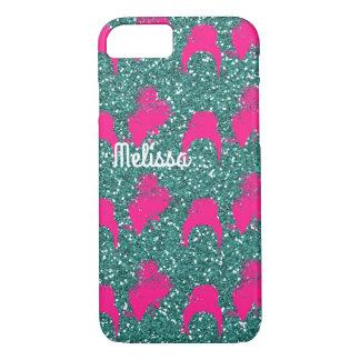 Pink green glitter fashion iPhone 7 case
