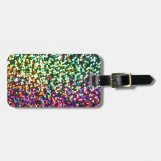 Pink Green Glitter sparkle pattern glitter art Bag Tag