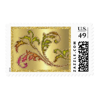Pink Green Gold Glittery Ornate Leafy Scroll Postage