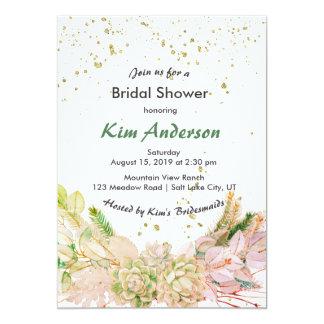 Pink Green Gold Romantic Succulent Bridal Shower Card
