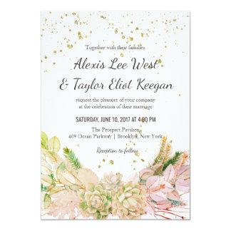 Pink Green Gold Romantic Succulent Wedding Invites
