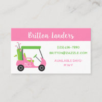Pink & Green Golf Business or Contact Cards