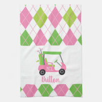 Pink & Green Golf Monogram Kitchen Towel