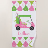 Pink & Green Golf Personalized Beach Towel