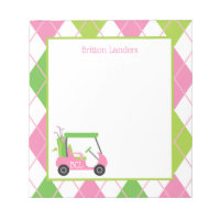 Pink & Green Golf Personalized Notepad