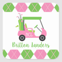 Pink & Green Golf Personalized Stickers