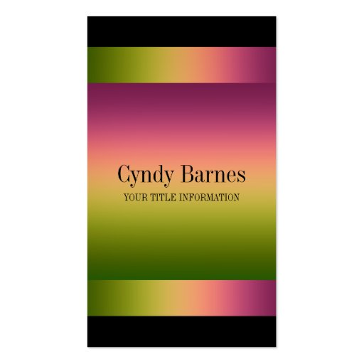 Pink Green Gradient on Black Business Card