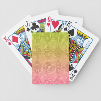 Pink Green Gradient Venetian Medley Damask Bicycle Playing Cards