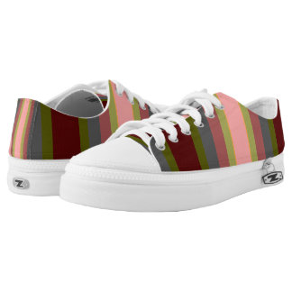 Pink Green Gray Burgundy Bold Stripes Printed Shoes