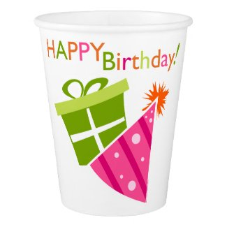 Pink Green Happy Birthday Paper Cup