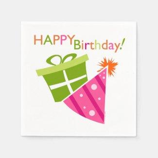 Pink Green Happy Birthday Paper Napkin