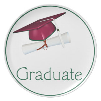 Pink/Green Hat with Diploma Graduate Dinner Plate
