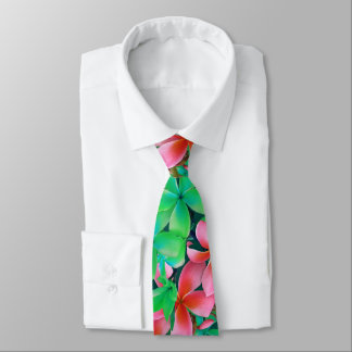 Pink Green Hawaiian Plumeria Big Flowers Neck Tie