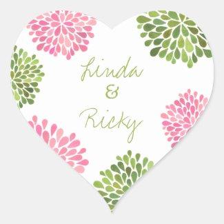 Pink & Green Heart Blooms Wedding Sticker Seal