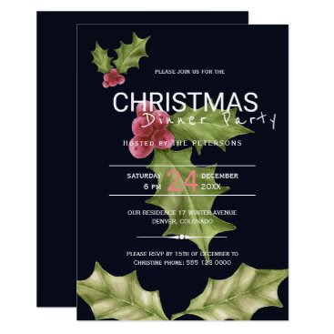 Beach Themed Pink green holly berries Christmas dinner party Card