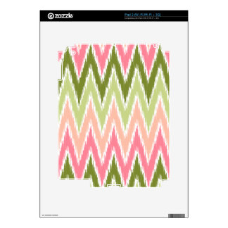Pink Green Ikat Chevron Zig Zag Stripes Pattern iPad 2 Decals