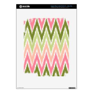 Pink Green Ikat Chevron Zig Zag Stripes Pattern iPad 3 Skin