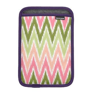 Pink Green Ikat Chevron Zig Zag Stripes Pattern iPad Mini Sleeves