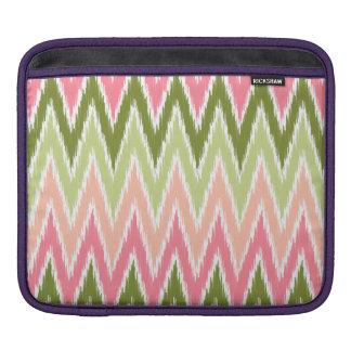 Pink Green Ikat Chevron Zig Zag Stripes Pattern Sleeves For iPads