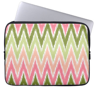 Pink Green Ikat Chevron Zig Zag Stripes Pattern Laptop Sleeve