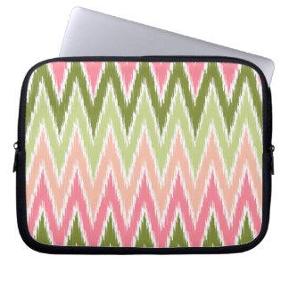 Pink Green Ikat Chevron Zig Zag Stripes Pattern Computer Sleeves