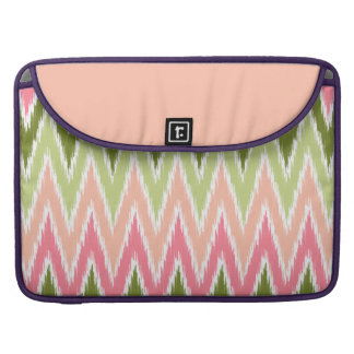 Pink Green Ikat Chevron Zig Zag Stripes Pattern Sleeve For MacBooks