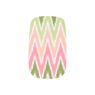 Pink Green Ikat Chevron Zig Zag Stripes Pattern Minx ® Nail Wraps