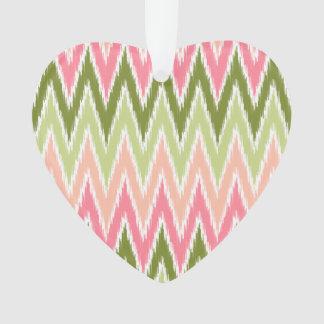 Pink Green Ikat Chevron Zig Zag Stripes Pattern Ornament