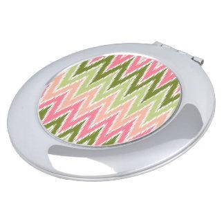 Pink Green Ikat Chevron Zig Zag Stripes Pattern Vanity Mirror