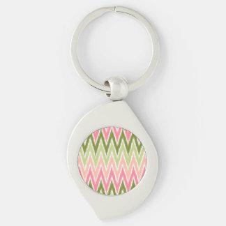 Pink Green Ikat Chevron Zig Zag Stripes Pattern Key Chains