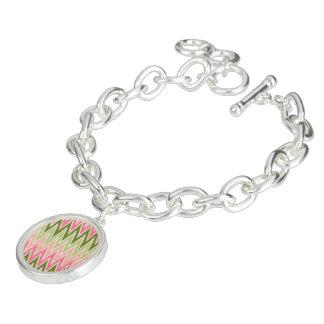 Pink Green Ikat Chevron Zig Zag Stripes Pattern Charm Bracelets