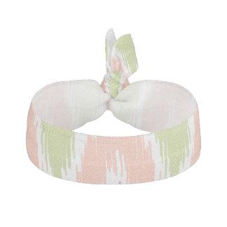 Pink Green Ikat Chevron Zig Zag Stripes Pattern Elastic Hair Ties