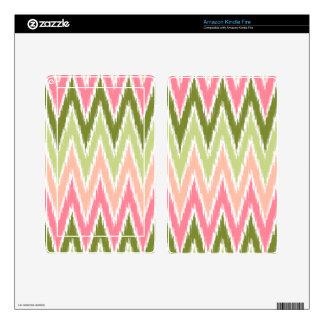 Pink Green Ikat Chevron Zig Zag Stripes Pattern Kindle Fire Skin