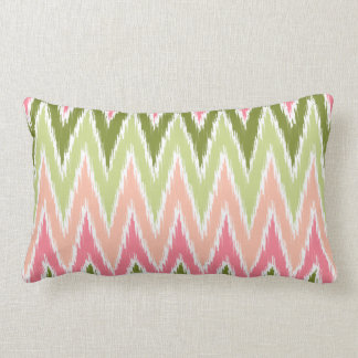 Pink Green Ikat Chevron Zig Zag Stripes Pattern Throw Pillow