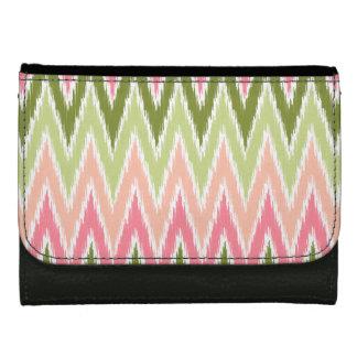 Pink Green Ikat Chevron Zig Zag Stripes Pattern Wallets