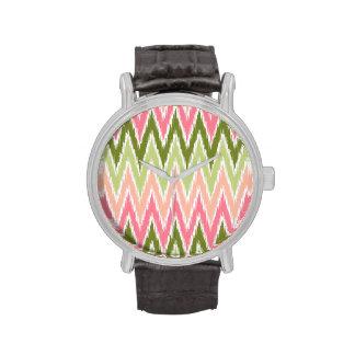 Pink Green Ikat Chevron Zig Zag Stripes Pattern Watch