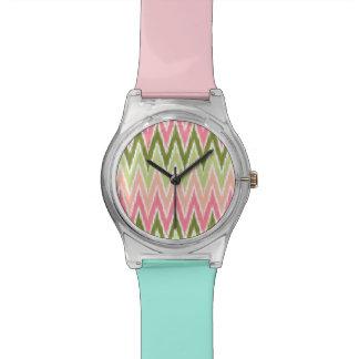 Pink Green Ikat Chevron Zig Zag Stripes Pattern Wristwatches