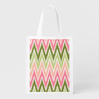 Pink Green Ikat Chevron Zig Zag Stripes Pattern Market Totes